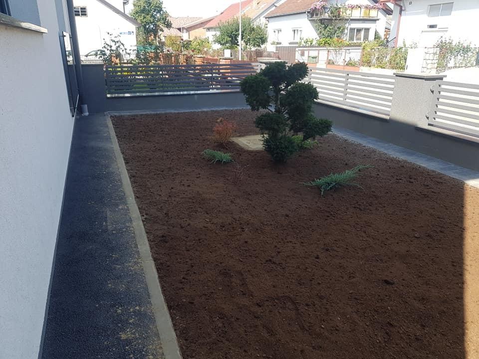 Zemljani radovi, sijanje travnjaka, sadnja biljaka, uređenje kamenjara i šišanje žive ograde