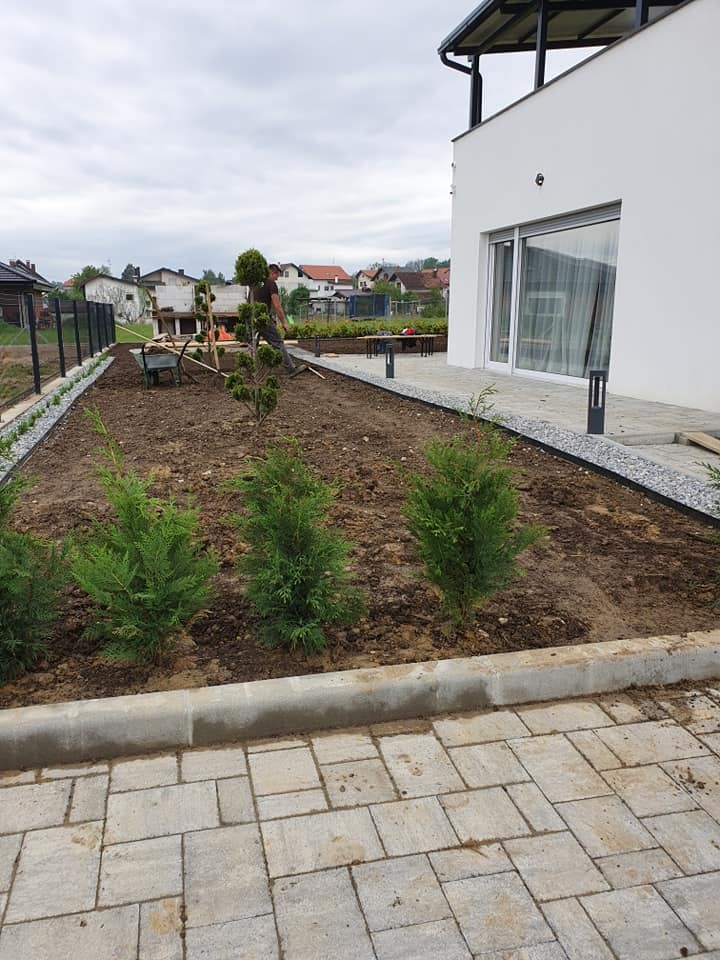 Uređenje zemljane površine, sadnja biljaka, postavljanje rubnjaka